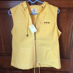 NWT Christopher & Banks Yellow Casual Hoodie Vest